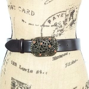 Brown Belt with Brass Jeweled Buckle